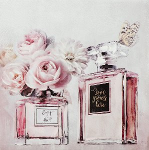 Perfume bottle with pink flowers I