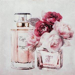 Perfume bottle with pink flowers II