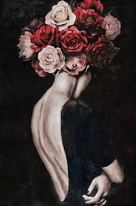 Beauty with wig of roses