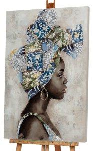 Dunkle Schönheit mit blauem Turban