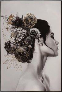 Dame aux cheveux noirs et fleurs