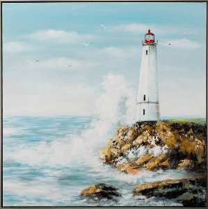 Lighthouse with crashing waves