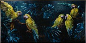 Parrots in blue jungle