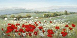 Paysage aux fleurs rouges