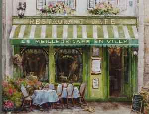 Französisches Café in grün