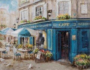 Französisches Café in blau