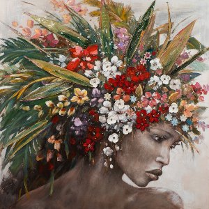 woman with flower wig