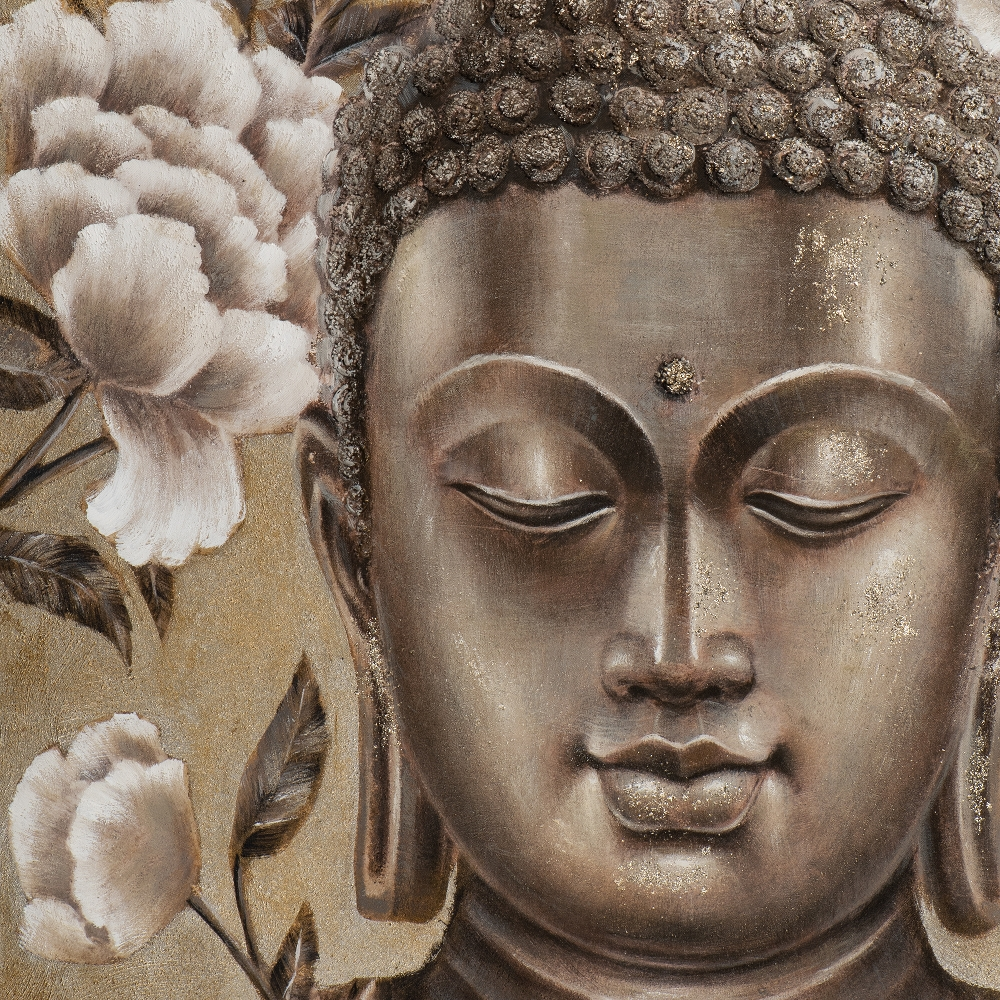 Buddha In Gold And Silver Acrylic Painting 90x120 Cm