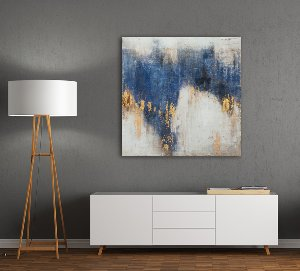 Abstract with blue and gold