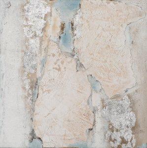 Abstrait en nude et bleu