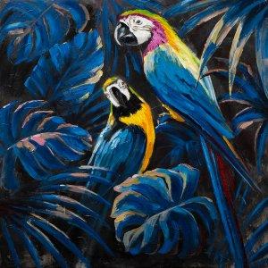 Blue parrots in love