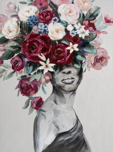 Schönheit mit Blumenperücke