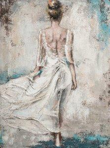 Vue de dos d'une femme en robe blanche
