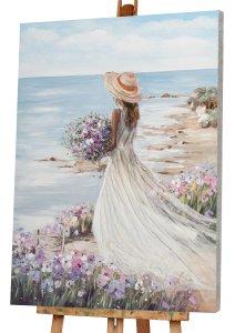 Femme à la plage avec robe blanche I
