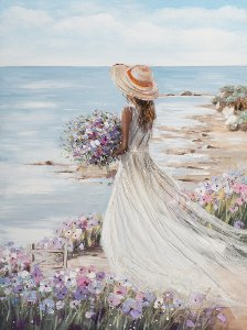 Lady on the beach with white dress I