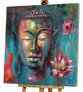 bouddha multicolore avec dahlia