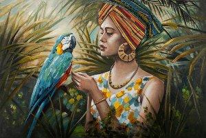 Femme dans jungle avec perroquet bleu-coloré