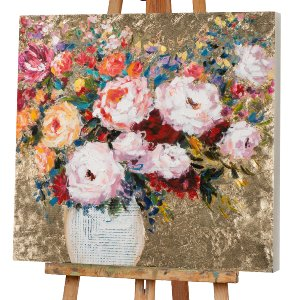Flower vase on golden background I