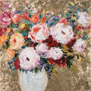Vase à fleurs sur fond doré I