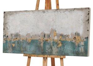 Abstrakte Farbkomposition in blau und gold