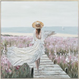 lady walking to the sea