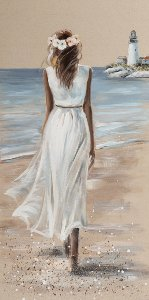 Lady on the beach with white dress II