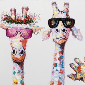 curious giraffes family