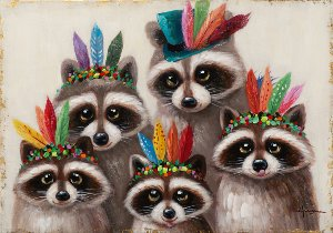 funny raccoons with indian feathers