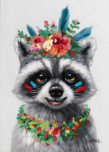 funny raccoon with flower decoration