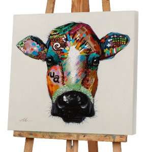colorful head of a cow