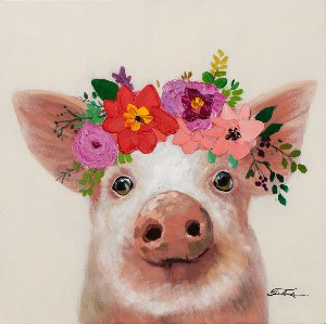 little pig with flower decoration