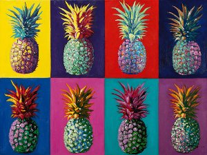 colorful pop art pineapple collage