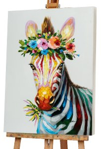zebra with flower decoration