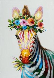 zebra with flower decoration