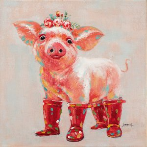 Pig with red boots