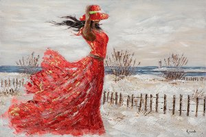 Red dress on the beach