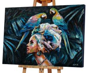 Schönheit mit 2 blauen Papageien