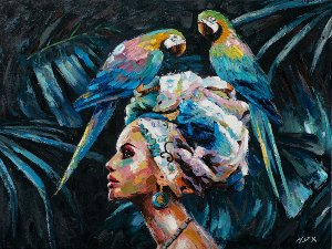 Beauty with 2 blue parrots