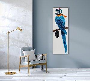 Parrot with helmet