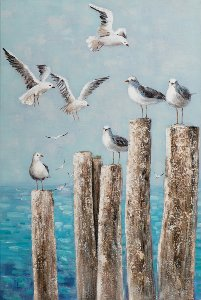 Seagulls on wood piles