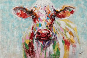 Cow in pastel colors