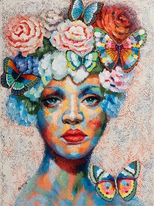 Beauty with flowerwig and Butterflies