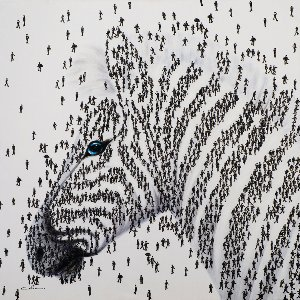 Zebra made out of people II