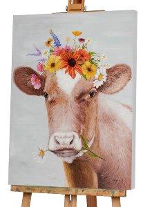 Kuh mit Blumenperücke
