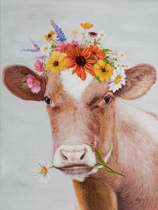 Cow with flower wig