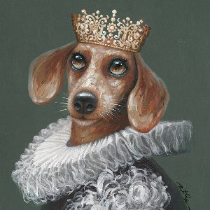 Dog dressed as marquise
