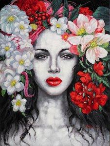 Schönheit mit Blumen