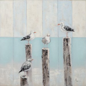 Seagulls on wooden stilts II