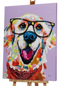 Funny colourful dog with glasses