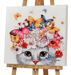 Kitten with flower wig